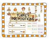 Turkey prepositions -- great Thanksgiving / Fall activity Speech basic concepts