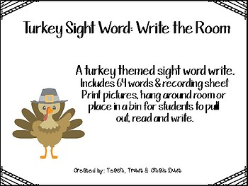 Turkey sight word: write the room