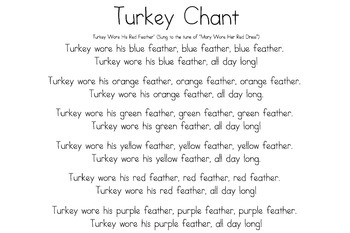 Turkey wore his feather- color chant