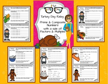 Factors, Multiples, Prime and Composite: Turkey/Sleigh Day Relay Bundle