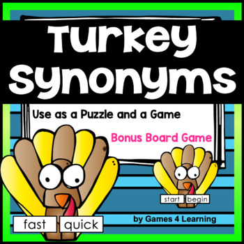 Turkeys Activity: Turkey Synonym Game and Puzzle Cards