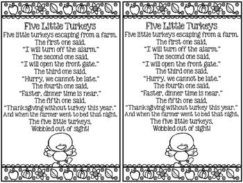 Thanksgiving Activities- Five Little Turkeys Poem