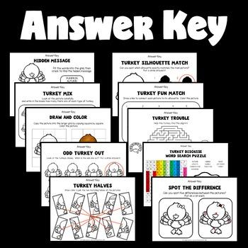 Turkey Worksheets (Kindergarten, 1st and 2nd Grade Activities)