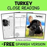Turkey Close Reading Passage Activities