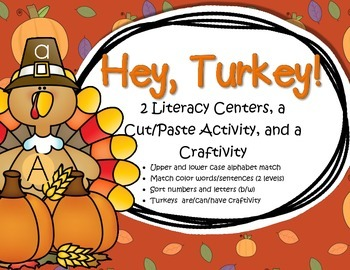 Thanksgiving Turkey Activities - 2 Centers, Cut and Paste Printable, Craftivity