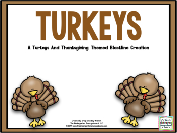 Turkeys! BLACKLINE Thanksgiving Math And Literacy Center C