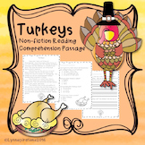 Turkeys- A Non-fiction Reading Comprehension Passage for Grades 1-3, Homeschool