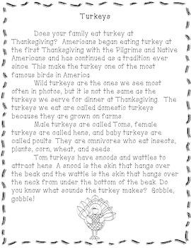 Turkeys- A Non-fiction Reading Comprehension Passage for Grades 1-3, Homeschool
