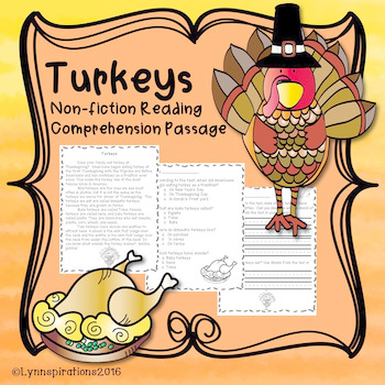 Turkeys- A Non-fiction Reading Comprehension Passage for G