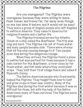 Pilgrims- A Non-fiction Reading Comprehension Passage for Grades 1-3, Homeschool
