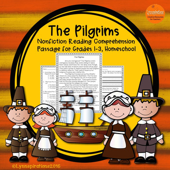 Pilgrims- A Non-fiction Reading Comprehension Passage for Grades 1-3, Homeschool
