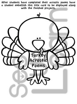 Turkeys Acrostic Poems