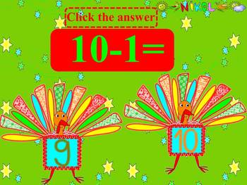 Thanksgiving Math- Turkeys - Addition and Subtraction - Interactive slide show