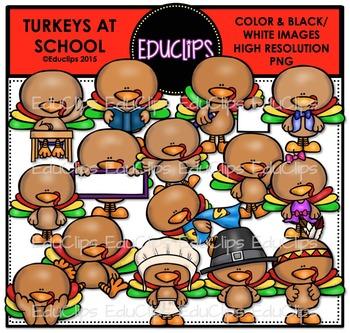 Turkeys At School Clip Art Bundle {Educlips Clipart}