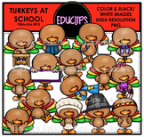 Turkeys At School Clip Art Bundle