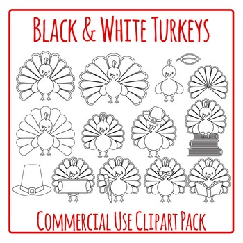 Turkeys Black and White Lineart Clip Art Pack for Commercial Use
