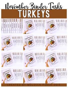 Turkeys Bundle- Independent Work Binder System