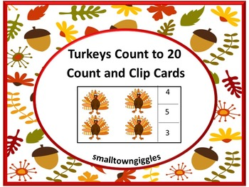 Thanksgiving Math Counting & Clip Task Cards Kindergarten Centers or Stations