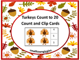 Thanksgiving Math Center Count Clip Task Cards P-K, K, Special Education