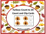 Thanksgiving Math Center Count Clip Task Cards P-K, K, Spe