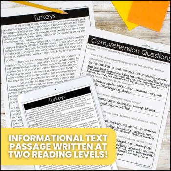 Turkeys Differentiated Informational Text Reading Passage & Activities