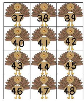 Turkeys Everywhere Number Set