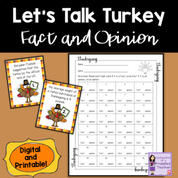 Turkeys Fact and Opinion Task Cards