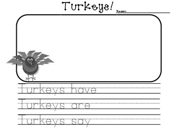 Turkeys Have/Are/Can writing