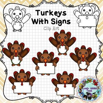 Turkeys Holding Frames Clip Art
