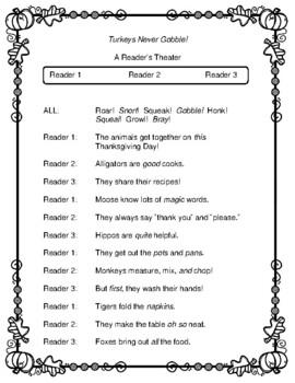 Turkeys Never Gobble! -- A Thanksgiving Reader's Theater