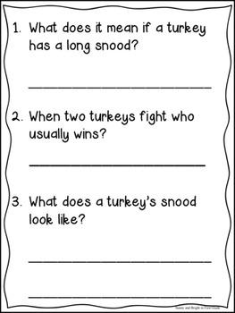 Turkeys Nonfiction Close Reading Informational Text Kindergarten, First,  Second