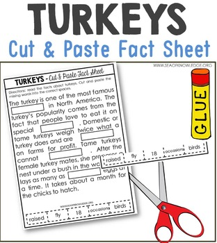 Turkeys Nonfiction Facts Cut and Paste Worksheet