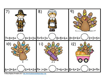 Turkeys Thanksgiving Equations Comparing Numbers Task Cards