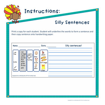 Turkeys Themed - Silly Sentences - Writing Word Banks/Warm-ups