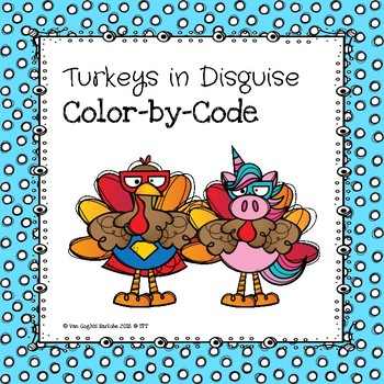 Thanksgiving Turkeys in Disguise Color-By-Number
