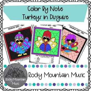 Turkeys in Disguise Color by Note