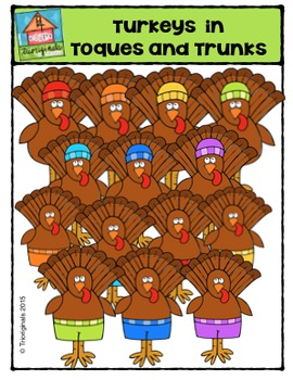 Turkeys in Toques and Trunks {P4 Clips Trioriginals Digital Clip Art}
