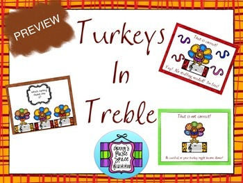 Turkeys in Treble - Review the Treble Clef SPACES only