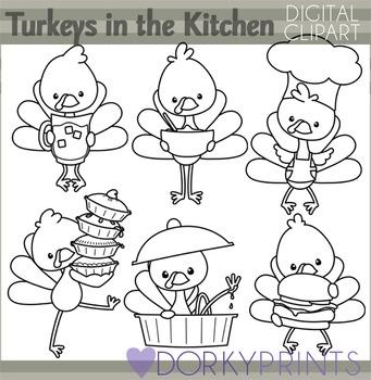 Turkeys in the Kitchen Thanksgiving Blackline Clip Art