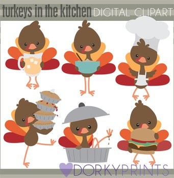 Turkeys in the Kitchen Thanksgiving Clip Art
