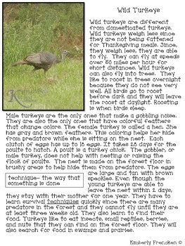 Turkeys: non-fiction passages and printables