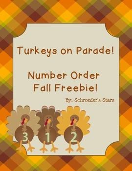 Turkeys on Parade!  Number Order Freebie