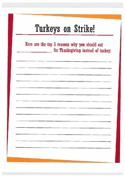 Turkeys on Strike- Thanksgiving Creative Writing