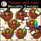 Turkeys with Signs Clipart || MOVABLE IMAGES CLIPART