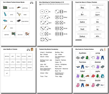 Turkish Bundle for Smart Teachers: 10 beginner units & ☆147+☆ NO PREP printables