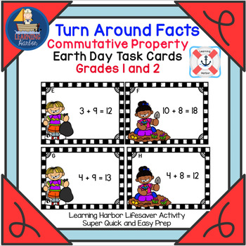 Turn Around Facts Commutative Property Earth Day Task Cards  Grade 1 - 2
