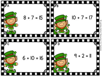 Turn Around Facts Commutative Property St. Patrick's Day Task Cards Grades 1 - 2