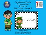 Turn Around Facts Commutative Property St. Patrick's Day Task Cards Grades 1 - 2