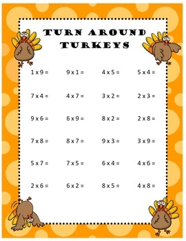 Turn Around Thanksgiving Turkeys Multiplication Fact Worksheet