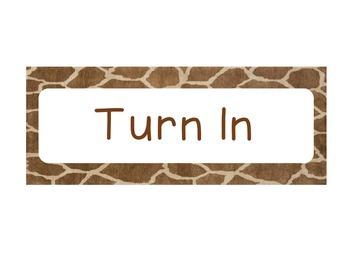 Turn In Label - Giraffe Print